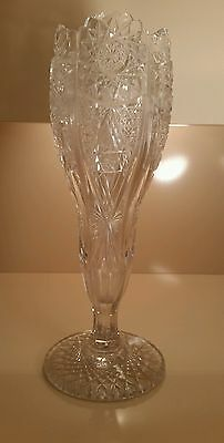 """Apb Cut Glass Very Large 12.5 """"  Inch Tall Chalice Shape Vase"""