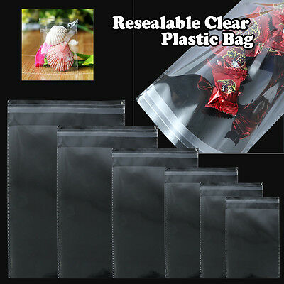100 Bags, Clear Poly Bags Large Small Plastic Packaging Resealable Cello 3 Mil