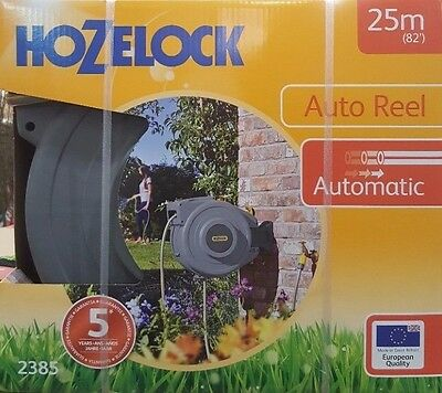 Hozelock 2385 Auto Reel with 25m Long Garden Hose Outdoor Watering Wall Mount
