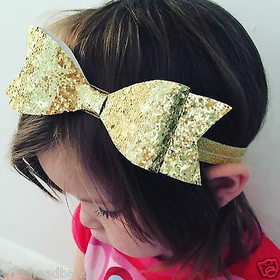 Large Handmade Gold Glitter Fabric Headband Baby Girl Headbands Newborn Toddler