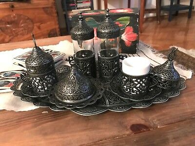 Turkish Coffee Water Tea Mix Set Porcelain Glass Ottoman Tulip Holder Pewter