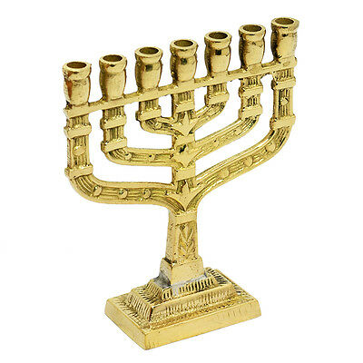 Authentic Brass Copper 10 Cm Menorah Vintage Candle Holder Judaica Gift Israel