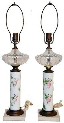 Beautiful Pair of White Porcelain & Glass Vase Lamps With Marble Base, c. 1940's