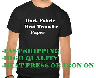 "Dark Fabric Heat Transfer Paper Cold Peel 10 Pieces Inkjet A4 8.5"" X 11""  10 pck"