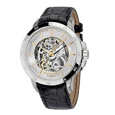 Maserati Ingegno Skeleton Dial Leather Strap Mens Mechanical Automatic Watch NEW