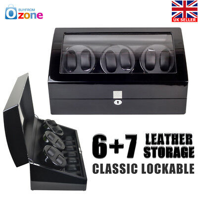 Luxury Watch Winder Display Box Automatic Rotation 6+7 Storage Wooden Case Black