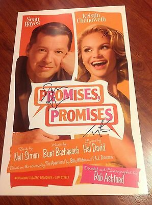 Kristin Chenoweth Promises Promises Signed Theater Poster Sean Hayes Wicked