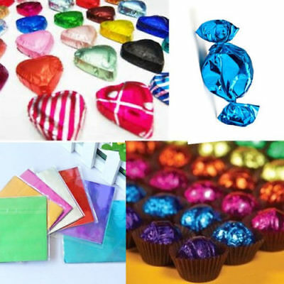 100x Square Aluminum Foil Wrappers for Chocolate Sweets Candy Xmas Wedding Gift