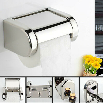 Stainless Steel Bathroom Toilet Wall Mounted Chrome Paper Tissue Box Holder UK