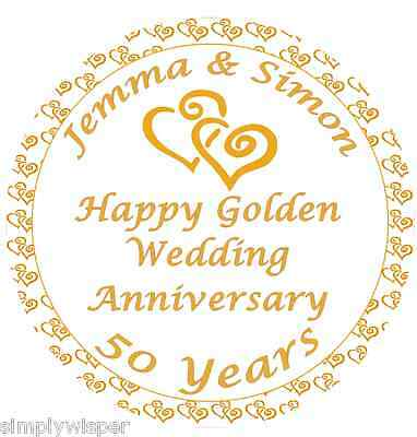 Golden Wedding Anniversary Personalised Sugar Icing Cake Topper decoration 50th