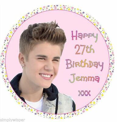 Justin Bieber Personalised Sugar Icing Cake Topper party decoration birthday