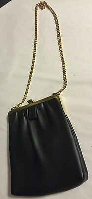 Vintage Navy Leather Clutch w/Shoulder Chain, Brass Clamp closure
