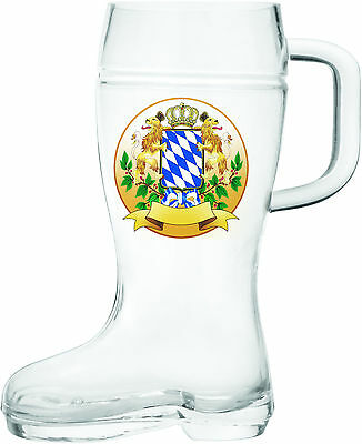 Hand Blown Glass Beer Handle Boot: Bayern Coat of Arms