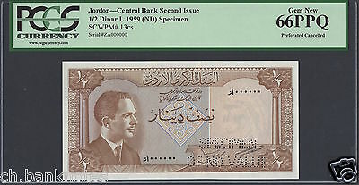 Jordan 1/2 Dinar Law 1959 Second issue P13s Specimen Perforated Uncirculated