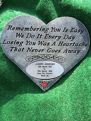 Personalised Memorial Stone / Plaque Verse Heart/ Gravemarker