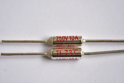 Thermal Fuses 250 Volt 10 Amp from 73c to 270c sold as pairs.