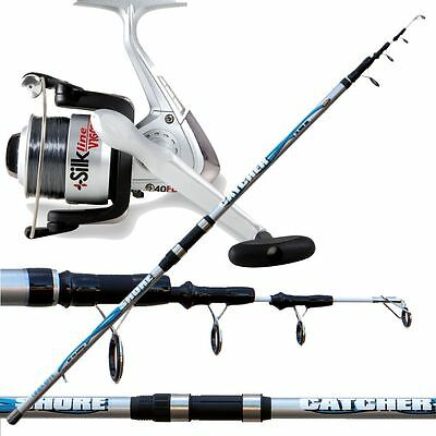 Kit per la pesca surfcasting canna shore catcher + mulinello silk con filo PLO