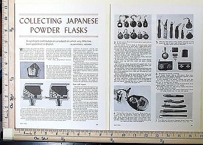 1963 COLLECTING JAPANESE POWDER FLASKS 3-Page MAGAZINE ARTICLE black gun 3851a