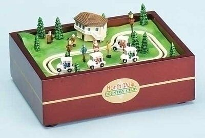 "4.5"" Lit Santa Golf Course w/Rotating Cars-Roman Inc. #33139-Collectables NIB"