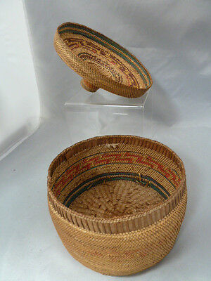 """Native American Weave Covered Bowl. Very Nice Design. Approx 6"""" T X 6.5"""" Diam"""