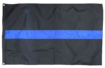 Thin Blue Line Nylon 3' x 5' Police Flag with Grommets Made in the USA Free Ship