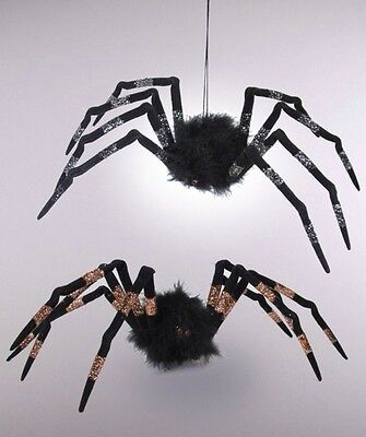 """2 Katherine's Collection Halloween Midnight Magic 14"""" Hanging Spider Ornaments"""