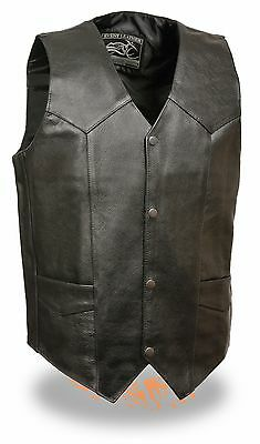 Men's Classic Black Leather 4 Snap Front Basic Biker Vest For Motorcycle Riders