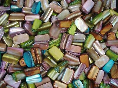 Mother of Pearl Rectangle Beads 25pc Mix Shell Jewellery Jewelry FREE POSTAGE