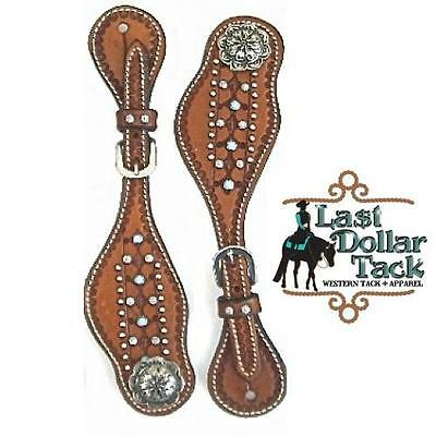 Ladies Medium Leather Tooled Spur Straps With Turquoise Stones & Silver Beads