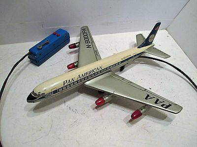 Pan Am Dc-8 Jet Airliner With Lighted Jet Engines & Steering Made In Japan