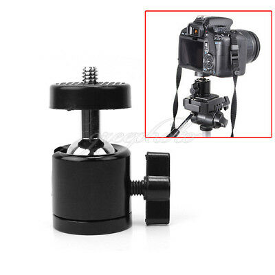 "Black 360°Swivel Mini Ball head Bracket 1/4"" Screw Mount for Tripod Camera New"