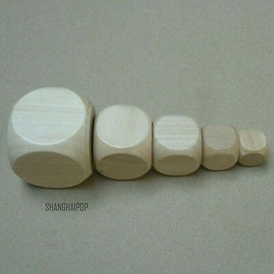 4 PCS Plain Blank Wooden Dices Cube DIY Six Sided Game Toy Craft 16mm-40mm New