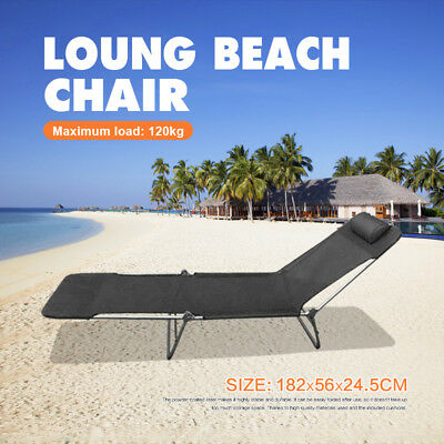 Folding Sun Bed Lounge Pool Beach Chair Camping Fishing Deck w/ Pillow New Sale