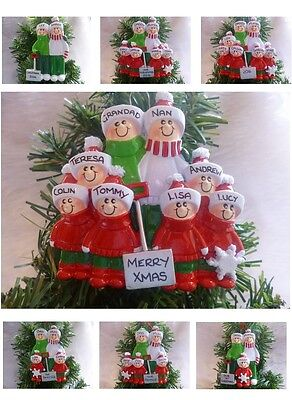 "Personalised Christmas Tree Resin Decoration ""shovel Family"" 2,3,4,5,6,7,8 Heads"