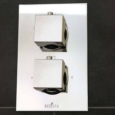 Concealed Twin Thermostatic Shower Mixer Valve Chrome | 1 Way | 2 Square Handles