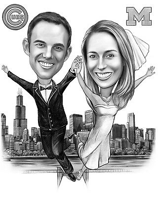 Custom Wedding  caricature from photo as Anniversary gift or invitation card