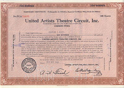 USA United Artists Theatres Circuit Aktie 1959 interessant