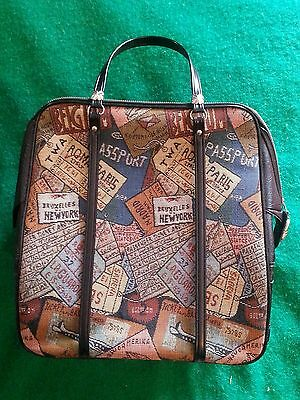 Fab Vtg☆Women's Faux Tapestry Travel Bag☆Boarding Passes/tickets Theme Classic
