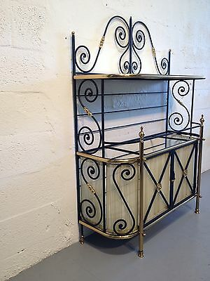 bakers rack shelf milk glass iron brass cabinet great quality italy • £544.43