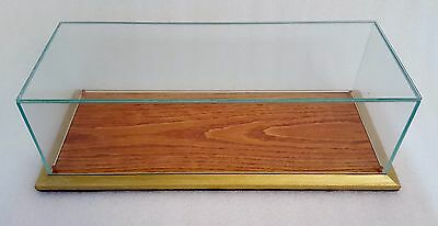 Glass Display Case Wood Base With Gold Trim