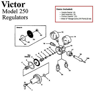 Victor 250-80-540 Oxygen Regulator Rebuild/Repair Parts Kit