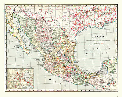 1902 Color Map of MEXICO - Inset of MEXICO CITY