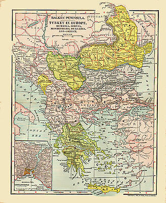 1902 Color Map of TURKEY in EUROPE - Inset of Constantinople
