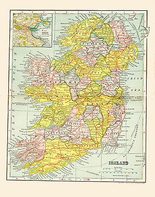 1903 Color Map of IRELAND-the Emerald Isle Under British Control-Inset of DUBLIN