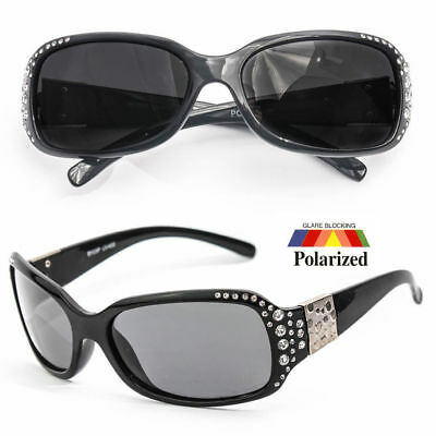 New POLARIZED Womens Rhinestones Designer Wrap Sunglasses Shades Fashion New o