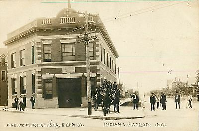 Fire Department, Horse-Drawn Equipment, Indiana Harbor IN RPPC 1909