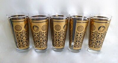 Libbey Mid Century Prudential Rock of Gibraltar Iced Tea 24K Gold Set of 5