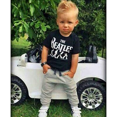2pcs Baby Boy Kids Short Sleeve T-shirt Tops + Casual Pants Outfit Clothing Set