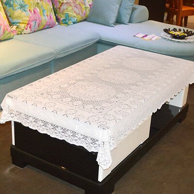 White Lace Tablecloth Sofa Handrail Cover For Dinning Table Desk Couch Flower