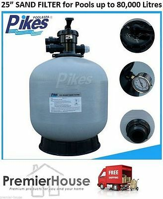 "PIKES Pool 25"" Sand Filter - Pool, Spa, Pump, to 80,000L, 6 Way Valve, Aust Std"